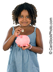 girl whit money box - adorable girl putting its savings in...