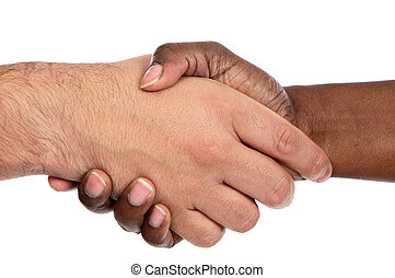 African and caucasian male shaking hands a over white...