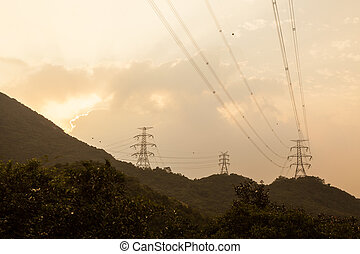 Power lines in hong kong back country hills