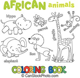 Coloring book of funny african animals - Coloring book or...