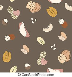 Different nuts pattern Vector EPS 10 hand drawn seamless...