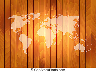 Vector world map on wooden wall background