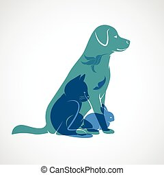 Vector group of pets - Dog, cat, bird,butterfly, rabbit,...