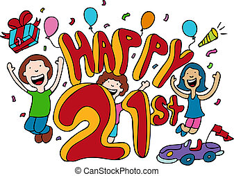 Happy 21st cartoon isolated on a white background.