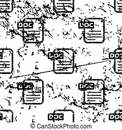 DOC document pattern, grunge, monochrome - DOC document...