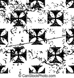 Maltese cross pattern, grunge, monochrome - Maltese cross...