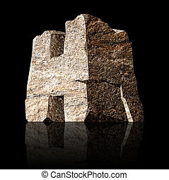 stone letter H - image of the three-dimensional stone letter...