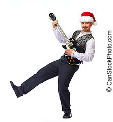 Christmas santa man with electric guitar - Christmas santa...