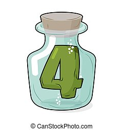 4 in laboratory bottle. Figure magic vessel with a wooden stopper. Four for scientific experiments. Vector illustration of a laboratory flask vessel