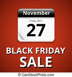 Black friday sale, calendar with dark page on red...