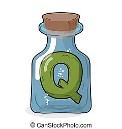 Q laboratory bottle. Letter in magical vessel with a wooden stopper. Letter Q for scientific experiments. Vector illustration of a laboratory flask vessel