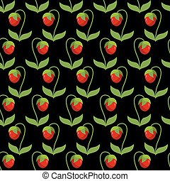 Red strawberries with green leaves on a black background. Seamless pattern from berries. Vector retro fabric ornament