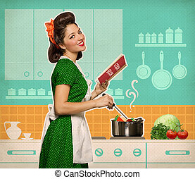 Retro smiling woman cooking and reading recipe book in her...