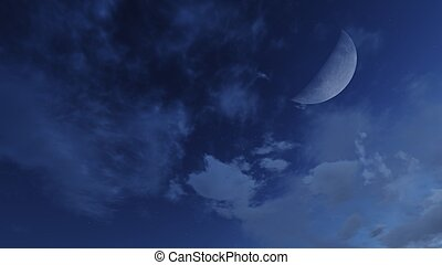 Half moon in a cloudy night sky - Cloudy nighttime sky with...