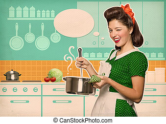Young housewife cooking soup in her kitchen room with speech...