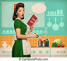 Retro young woman cooking soup in her kitchen room - Young...
