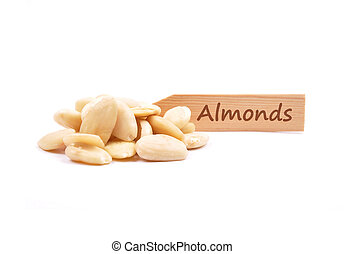 Blanched almonds at plate