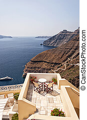 Romantic Patio Santorini - Romantic patio with table and...