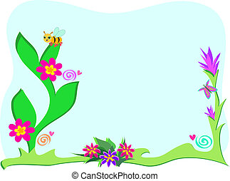 Framed Garden with Plants and Bee