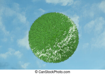 Green grass sphere in the sky - Green grass sphere on a blue...