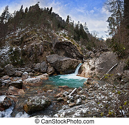 Mountain river with a waterfall - The mountain river with a...