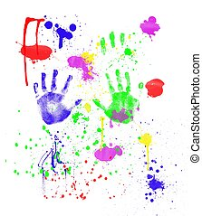 Fingerpainting - Colorful fingerpainting and handprints...