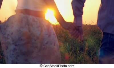 Fashionable happy couple join hands runs across the field in...