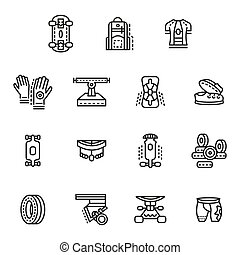 Accessories for longboards line vector icons set - Set of...