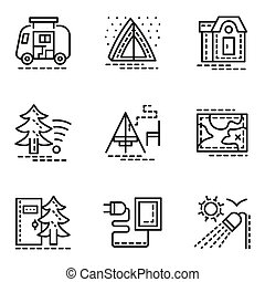 Elements of camping simple line vector icons set - Symbols...