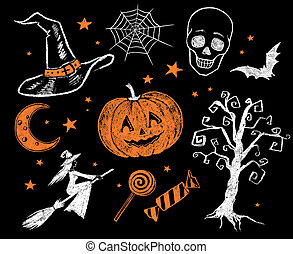 Vintage Halloween collection. - Vintage chalk drawn...