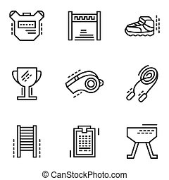 Physical education simple line vector icons - Objects and...