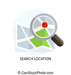 Location Icon Search Concept Flat Design Isolated...