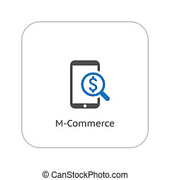 M-Commerce Icon Business Concept Flat Design Isolated...