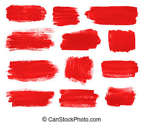 Red brush stokes collection - Hand drawn watercolor red...