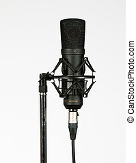 Condenser microphone - Black condenser microphone on white...