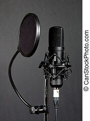 Condenser microphone - Black condenser microphone with pop...