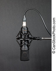 Condenser microphone - Black condenser microphone on grey...