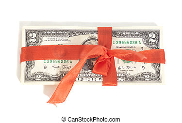 Gift of dollars isolated on white