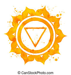 Manipura chakra symbol - Watercolor illustration of Manipura...