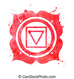 Muladhara chakra symbol - Watercolor illustration of...