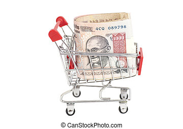 Indian 1000 rupees in shopping cart isolated on white...