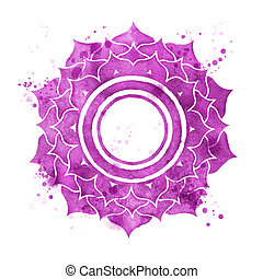 Sahasrara chakra - Watercolor illustration of Sahasrara...