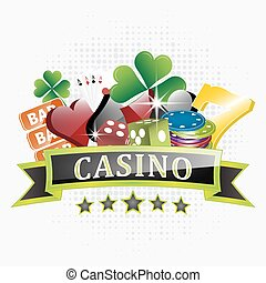 Casino illustration with chips, card symbols, playing cards, dice and lucky seven symbol.