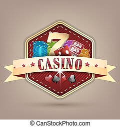 Casino illustration with ribbon, chips, dice, card and lucky seven symbol.