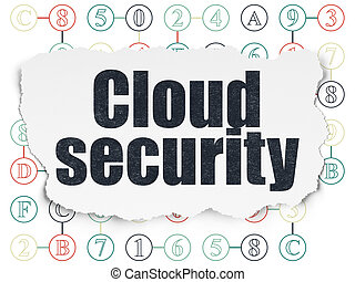 Cloud computing concept: Cloud Security on Torn Paper background