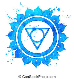 Vishuddha chakra symbol. - Watercolor illustration of...
