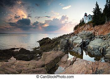 Bass Harbor Lighthouse at dusk