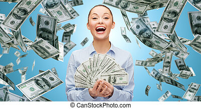 happy laughing businesswoman with dollar money - business,...