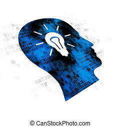 Learning concept: Head With Light Bulb on Digital background