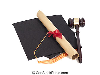 Black Graduation Hat with Diploma and Gavel